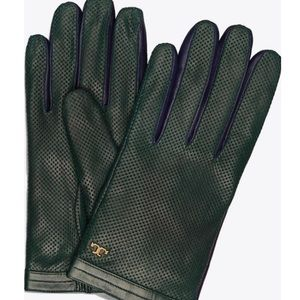 Tory Burch Green/Blue Perforated Leather Gloves6.5